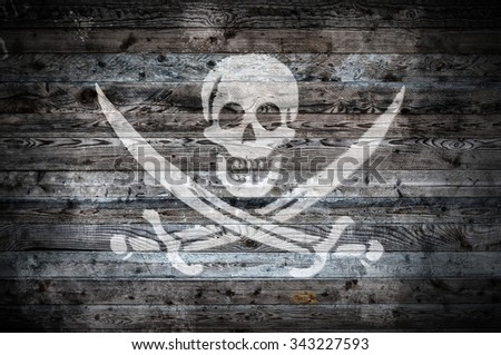 A vignetted background image of the flag of pirates onto wooden boards of a wall or floor.