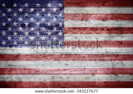 A vignetted background image of the flag of United States onto wooden boards of a wall or floor.