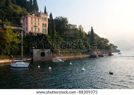 A villa hanging from a cliff in Varenna, Italy - stock photo