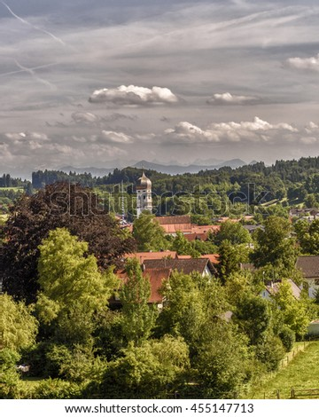 A village in Bavaria seen from a distance during a cloudy afternoon