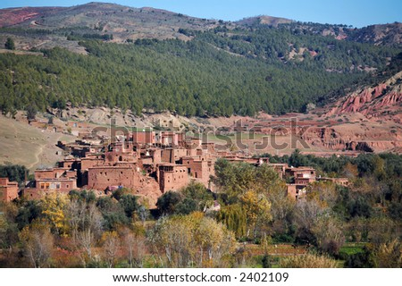 A village in the High Atlas range, Morocco.