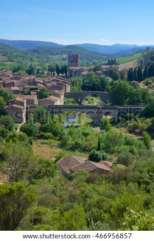 A village in the Languedoc region of the South of France, surrounded by vineyards