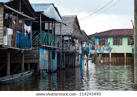 A village on the water in Peru - stock photo
