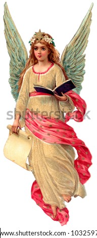 A vintage angel illustration - holding a book and a scroll (this pairs up with another angel facing the opposite direction) - circa 1890