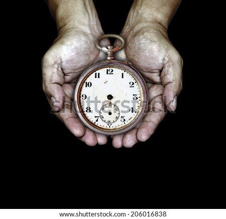 A vintage antique clock on a pair of rugged hand for the concept of Time at Hand.  - stock photo