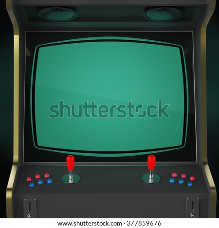 Vintage Arcade Game Machine Screen Close Stock Illustration ...