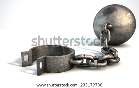 A vintage ball and chain with an open shackle on an isolated white studio background - stock photo