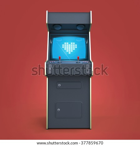 A vintage black arcade game machine cabinet with pixel heart icon colorful controllers and a screen isolated. love, gaming, vintage, win, couple metaphor. high quality 3d rendering. - stock photo