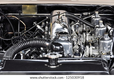 A vintage car engine closeup