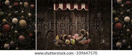 A vintage Christmas collage of tree and candy house. - stock photo