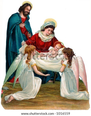 A vintage Christmas nativity illustration with angels (circa 1896)