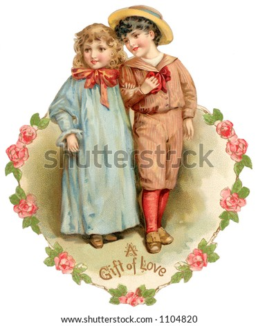 "A vintage die-cut Valentine illustration of boy and girl friends (greeting card entitled, ''A Gift of Love"") circa 1886"