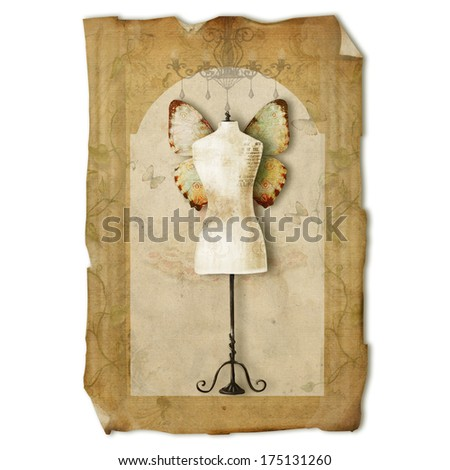 A vintage dress form  with wings against worn-out background - stock photo