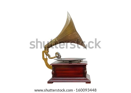 A Vintage Gramophone Isolated on a White Background - stock photo