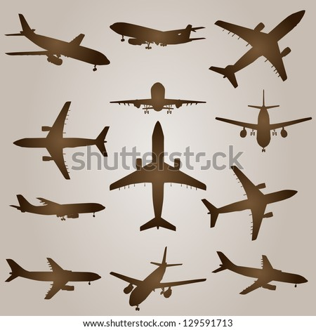A vintage old set of brown planes drawings on a beige background. It is a group or collection of aircrafts ideal for grungy, travel, flight,transport,retro,antique,business or commercial designs