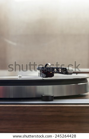 A vintage record player(turntable) with LP(record) - stock photo