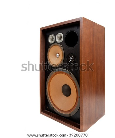 A vintage stereo speaker with no cover on a white background - stock photo