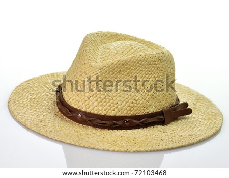 a vintage straw hat on white background
