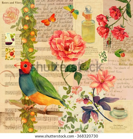 A vintage style collage background with mockups of old newspaper texts, handwritten notes on aged paper, sheet music, a Victorian bird, a rose and other flowers, butterflies, and postage stamps  - stock photo