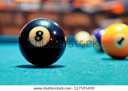 A Vintage style photo from a black ball in a pool table. Noise added for a film effect/Black Ball