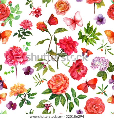 A vintage style seamless background pattern with watercolour drawings of roses and other flowers, berries, leaves and butterflies - stock photo
