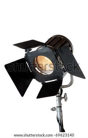 A vintage theater spotlight isolated on a white background - stock photo