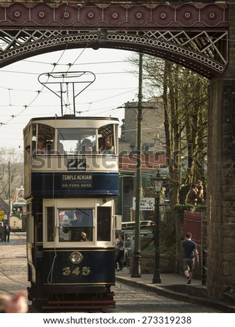 A vintage tram at the National Tramway Museum,Crich,Derbyshire,UK.taken 05/04/2015