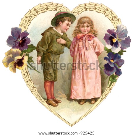 A vintage Valentine illustration of a boy greeting a young girl (circa 1890)