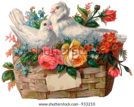 A vintage Valentine illustration of a love birds in a basket (circa 1890)
