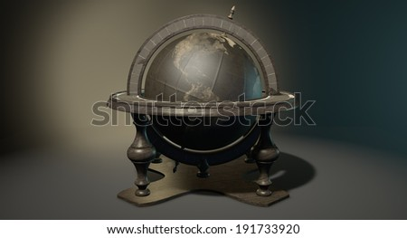 A vintage wooden world globe ornament on an isolated dark background - stock photo