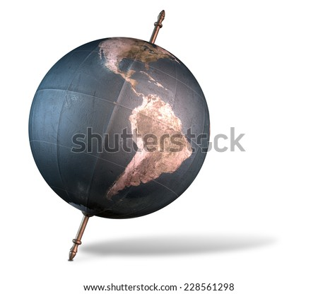 A vintage world globe tilted and standing on a central axis on an isolated white background - stock photo