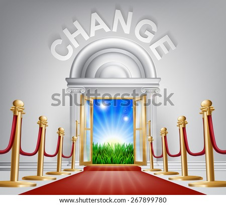 A VIP door to change opening to reveal a sunrise and beautiful green landscape. Perhaps a concept for hope for the future. - stock photo