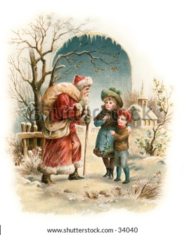 A Visit from Saint Nicholas - an early 1900s vintage greeting card illustration.