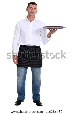A waiter. - stock photo