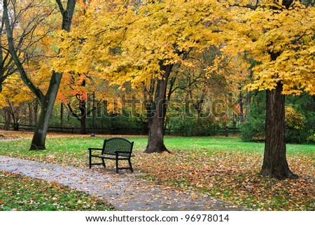 A Walking Path And Park Bench Amid The Brilliant Colors Of A Rainy Autumn Day, Sharon Woods, Southwestern Ohio, USA - stock photo