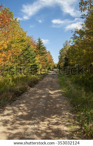 A walking trail on a sunny autumn day in Nova Scotia, Canada. - stock photo