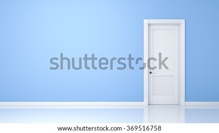 A wall and a door in an empty flat with space for your content - stock photo