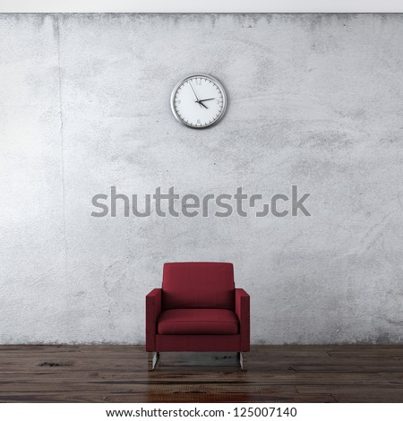 A wall clock and red chair isolated on a white background - stock photo