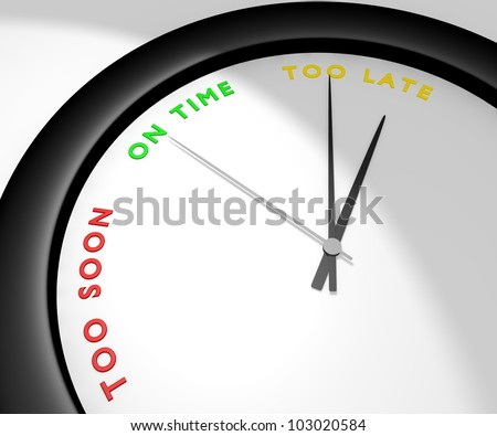 A wall clock says 'too late' symbolizes a missed opportunity, a lost bargain, the chance of a lifetime... Other pics of the same set: 'too soon' and 'on time'. Computer generated image. - stock photo