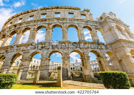 A wall fragment of ancient Roman amphitheater (Arena) in Pula, Croatia  - stock photo