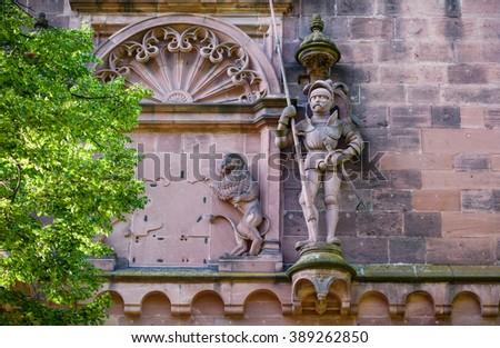 A wall fragment of Heidelberg castle, Germany - stock photo