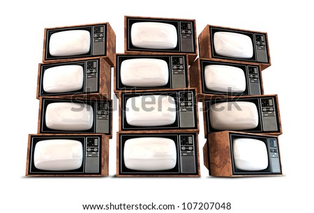 A wall of twelve old vintage tube televisions with mahogany trim and chrome dials and knobs - stock photo