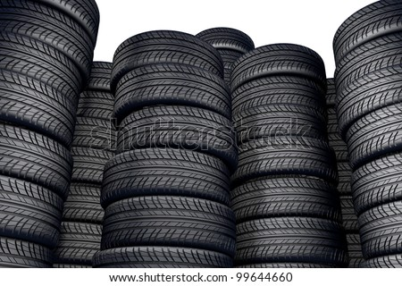 a wall of wheels isolated on a white background