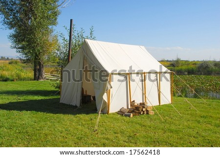 A walled cabin tent.