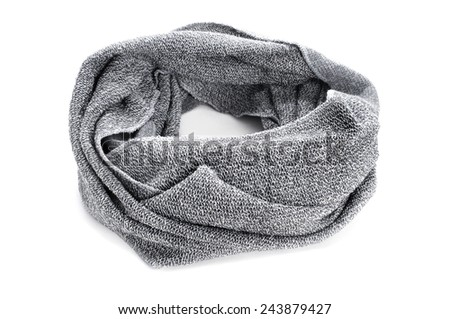 a warm gray snood on a white background