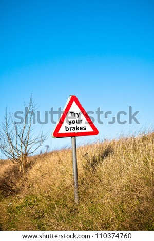 A warning sign on a UK road side - stock photo