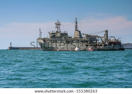 A warship in the Bay of Sevastopol. Crimea (Ukraine)
