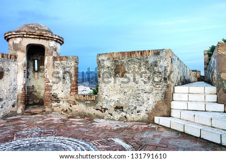 A watch tower of the Gibralfaro Castle in Malaga, Spain - stock photo