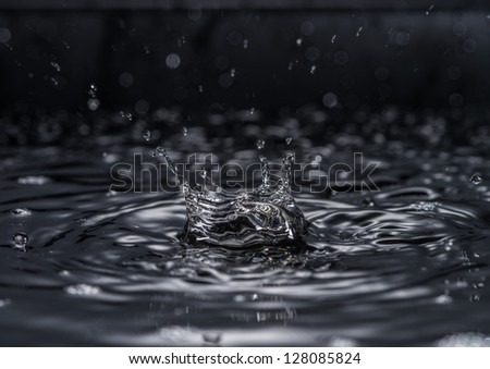 A water drop forms a crown as it splashes into a pool of water.