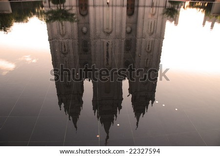 a water reflection of a holy building - stock photo